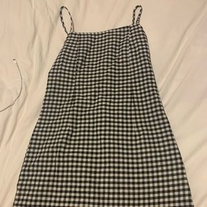 Strappy gingham black and white dress